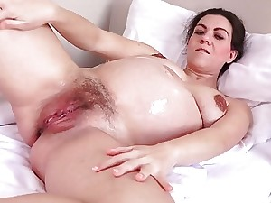 Preggie Corazon Oiled Encircling together with Masturbating!