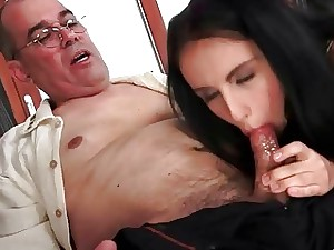 Grandpas increased by Super-fucking-hot Youthful Brunettes