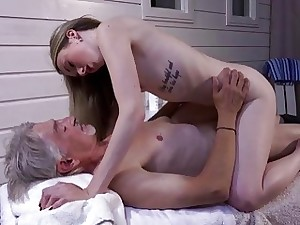 Shrivelled Teen Knead has mating upon grandpa increased by fellate