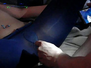 fingering her and cutting the nylons