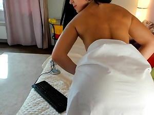 Russian woman demonstrates her bum