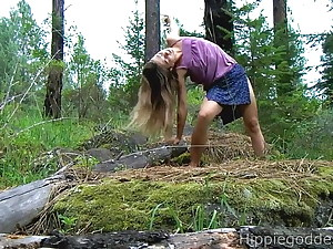 Hairy girl jerking in nature
