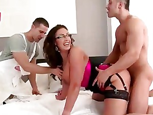 Sex-crazed housewife obtaining banged apart from several servants
